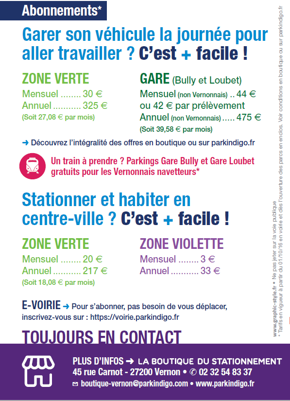 Stationnement : abonnements