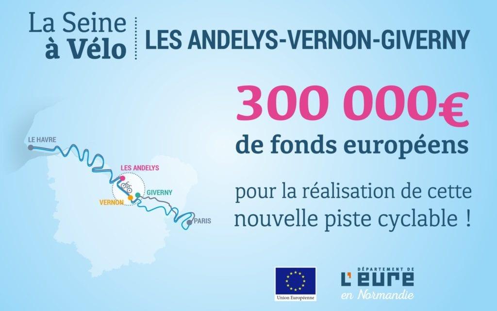 La Seine à Vélo : infographie sur 300 000€ de fonds européens accordés pour le projet