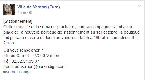Publication facebook du 27/09/2016 concernant les horaires élargis de la boutique Indigo à Vernon