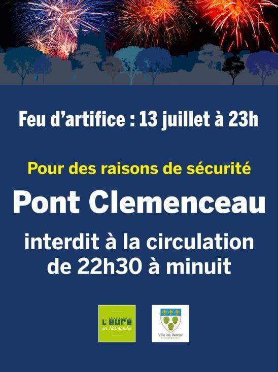 Fermeture pont clemenceau 13 juillet vernon