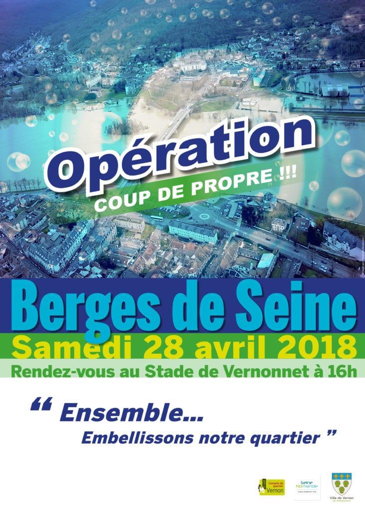Opération coup de propre sur les Berges de Seine, cette fois, côté Vernonnet ! Rendez-vous au stade de Vernonnet à 16h.