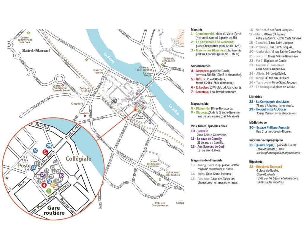 Guide des étudiants - plan des commerces Vernon Saint Marcel