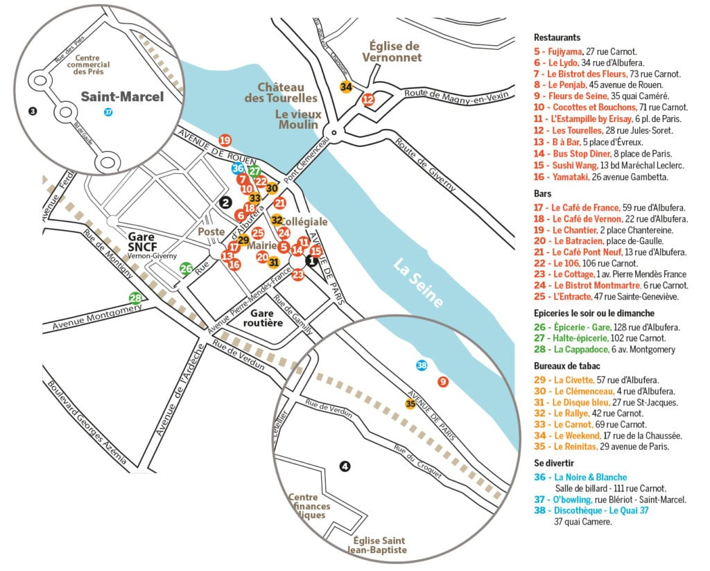 Guide des étudiants - plan des restaurants et sorties Vernon