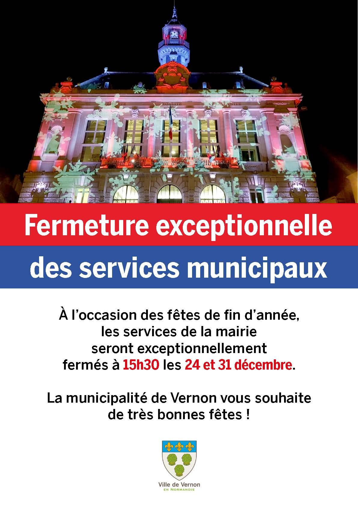 Fermeture exceptionnelle des services de la mairie fêtes de fin d'année Vernon 2018