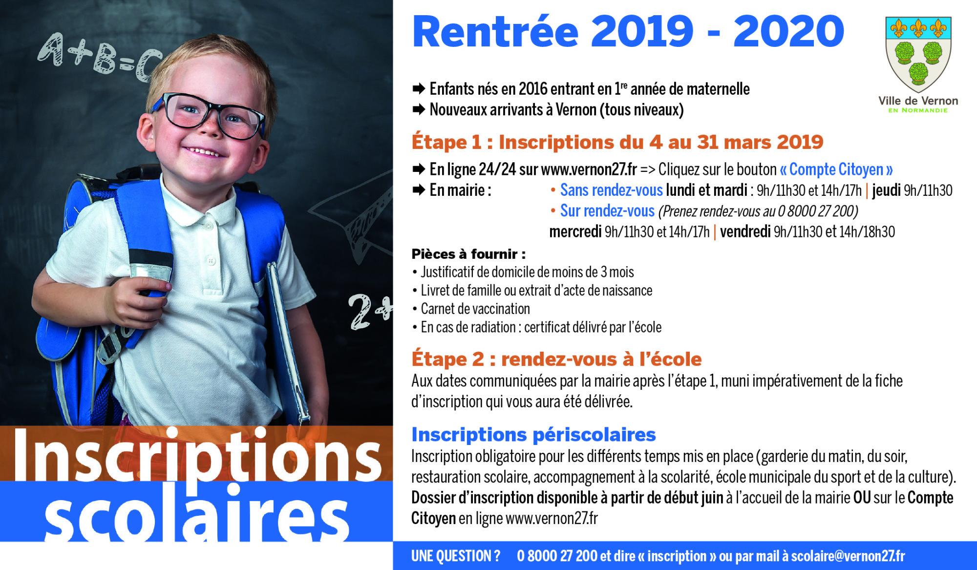 Les inscriptions pour la rentrée scolaire 2019/2020 seront ouvertes du 4 au 31 mars. Elles s'adressent aux enfants qui auront 3 ans avant le 31 décembre 2019 (entrant en 1ere année de maternelle) ainsi qu'aux nouveaux arrivants à Vernon (tous niveaux).