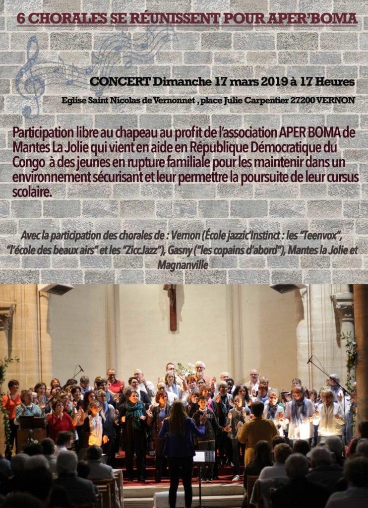 concert caritatif qui aura lieu à l'église de Vernonnet la semaine prochaine. Le concert est organisé par l'école de musique « Jazzic'Instinct ».