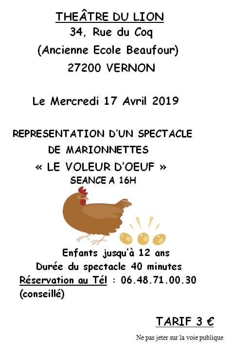 REPRESENTATION D'UN SPECTACLE                         DE MARIONNETTES   « LE VOLEUR D'OEUFS » SEANCE A 16H