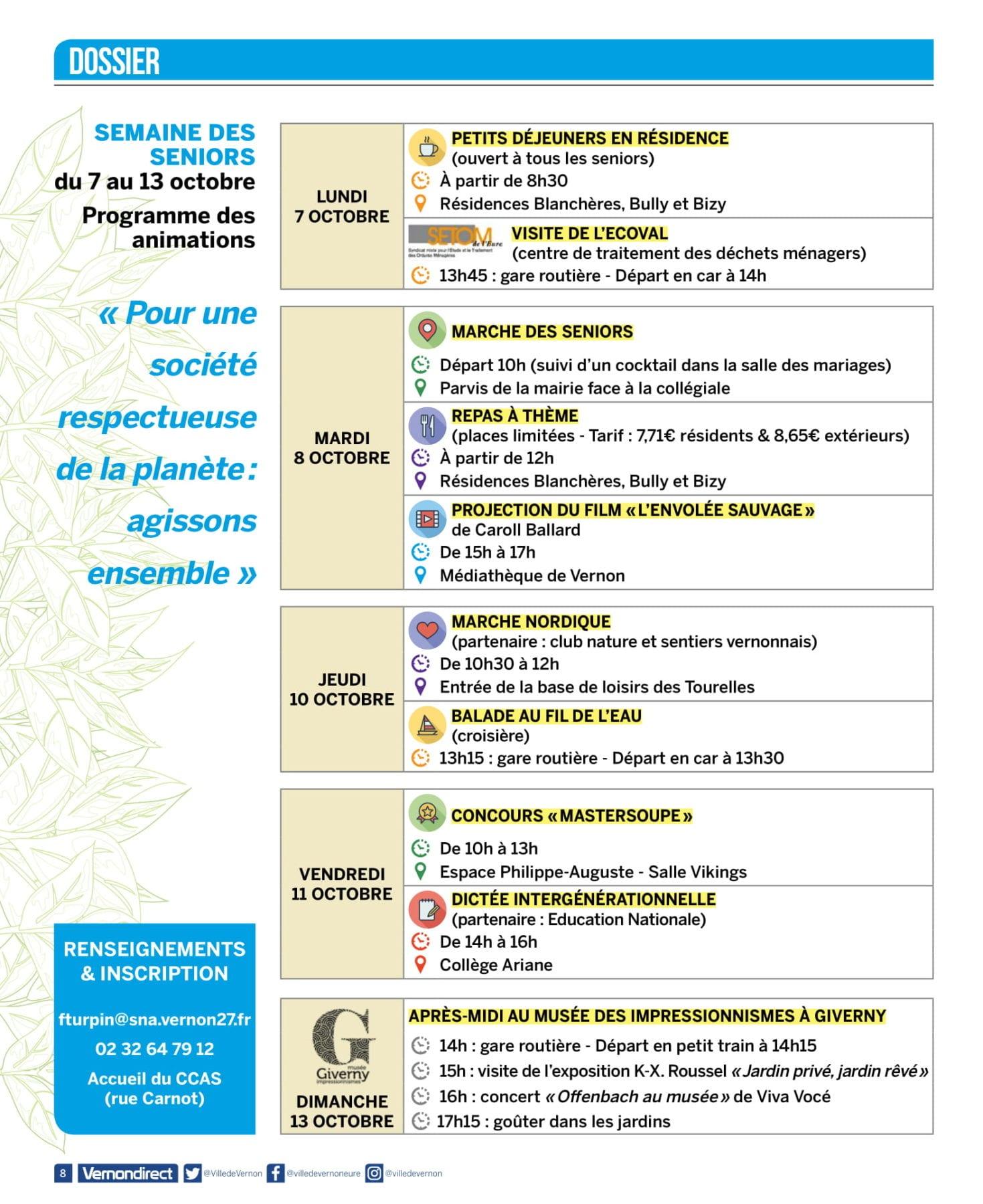 Programme semaine des séniors