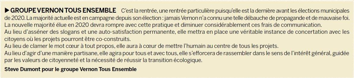 Tribune Vernon Tous Ensemble septembre 2019