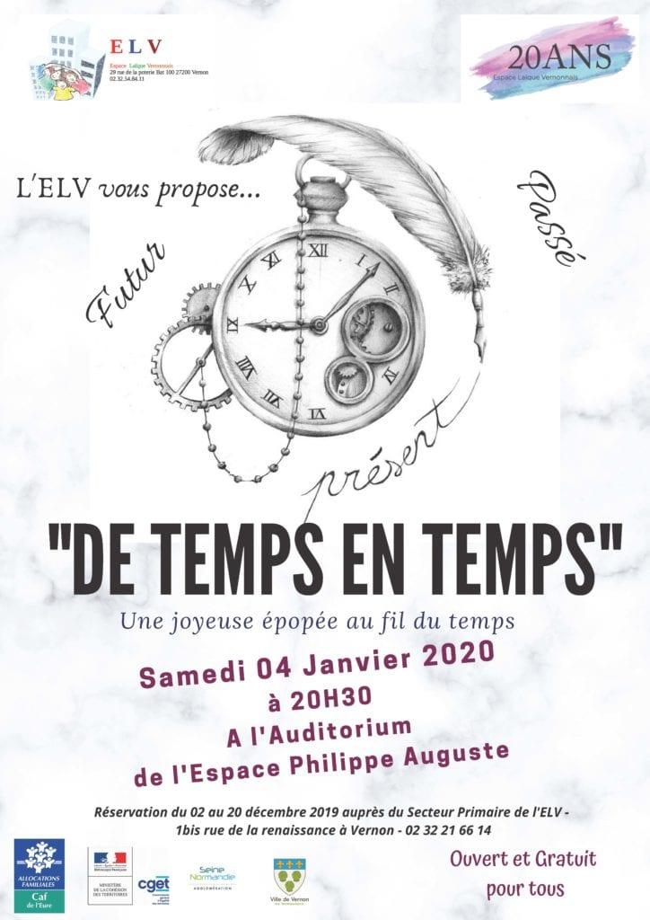 Affiche Spectacle ELV _De temps en temps_4 janvier 2020